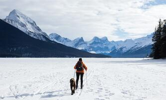 hiker in orange jacket and brown dog in the mountains