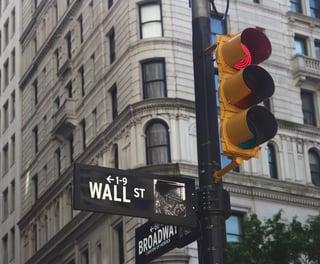 traffic light on wall street in new york city
